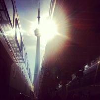 ~ Took this on my way to catch the train… It was a great moment to just enjoy the sun & the CN tower. ~
