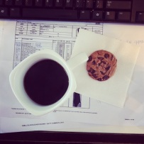 ~ Chocolate chip cookie & coffee… my perfect work break. ~