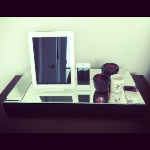 ~ Night stand gets a little sparkle with mirrored tray & candles. ~