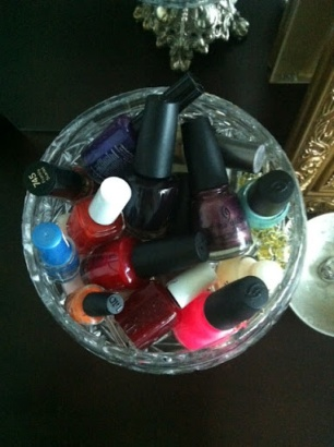 ~ A fun way to display my growing Nail polish collection (with a vintage glass dish). ~