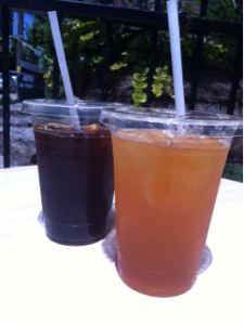 Enjoying an ice tea for me & iced americano with a friend during our lunch break.