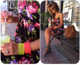 ~ Digital floral print that stands out on a black background, paired with neon accessories to compliment the accent colours ~