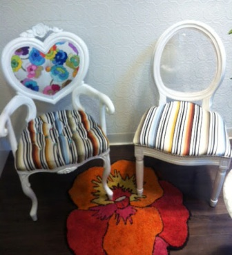 ~ Loved these fun chairs at the chic bakery shop We Bake in Heels ~