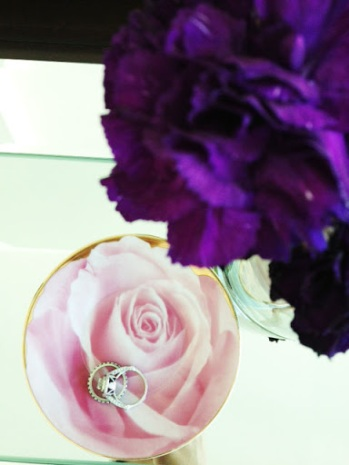 ~ A rose printed saucer makes for a beautiful ring holder ~