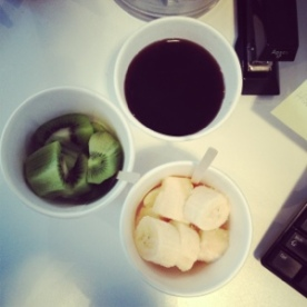 ~ Coffee & Fruits to start my mornings at work ~