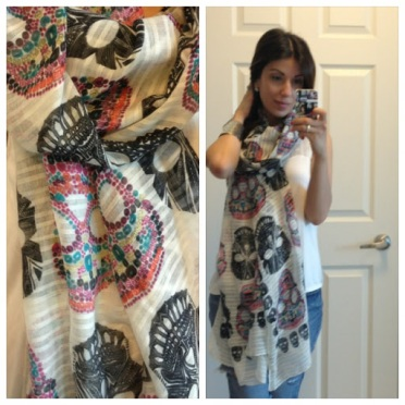 ~ Finally found a scarf that has sugar skulls on it. ~