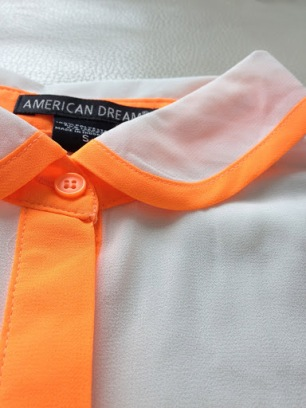 ~ Neon orange details on a simple white blouse ~