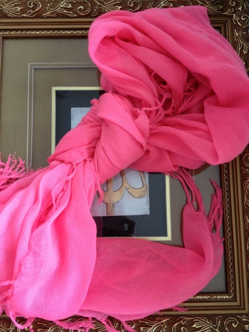 ~ Vibrant pink scarf for cool summer nights ~