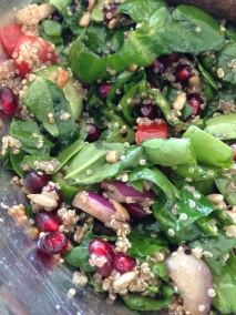 ~ Delicious pomegranates & spinach salad... reminds me of summer ~