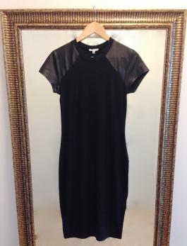 ~ Faux leather finish detail, makes a plain shift dress edgy ~