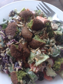 ~ Tahini dressing salad with homemade Falafel ~